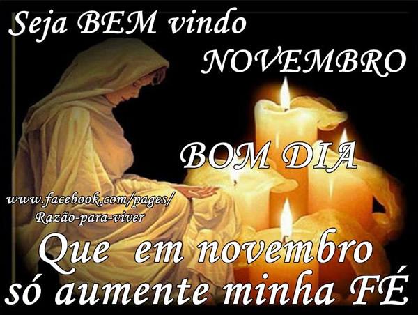 Seja Bem Vindo, Novembro! Bom Dia. Que em novembro só aumente minha Fé.