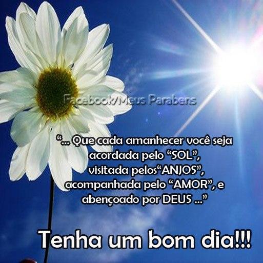 Que cada amanhecer você seja acordada pelo SOL, visitada pelos a ANJOS, acompanhada pelo AMOR, e abençoado por DEUS... Tenha um bom dia!!!