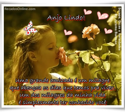 Anjo! Uma grande amizade é um milagre que abençoa os dias que temos pra viver. Um dos milagres da minha vida é simplesmente ter conhecido você.