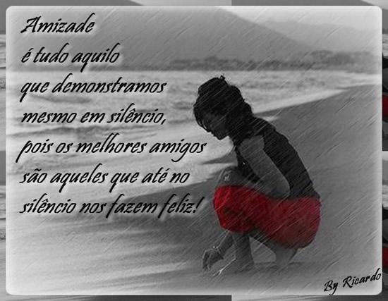 Amizade é tudo aquilo que demonstramos mesmo em silêncio...