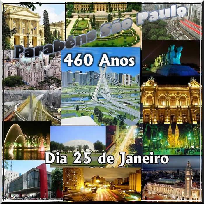 Parabéns São Paulo 460 Anos Dia 25 de Janeiro