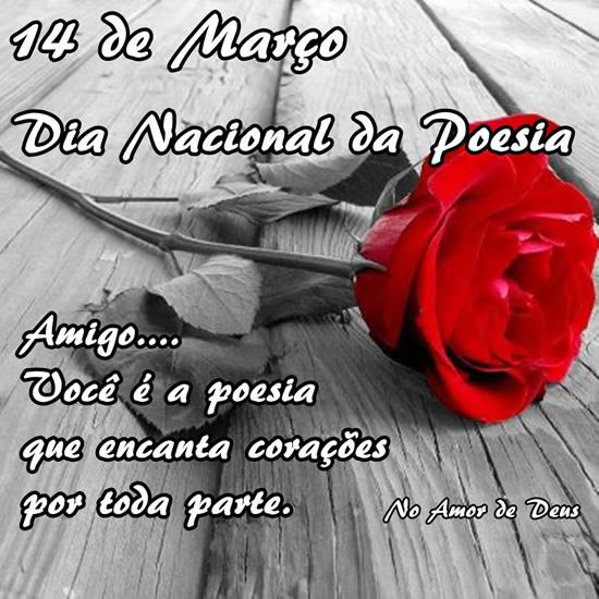 14 de Março Dia Nacional da Poesia. Amigo... Você é a poesia que encanta corações por toda a parte.