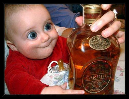 Bebê de olho arregalado para garrafa de Whisky Cardhu