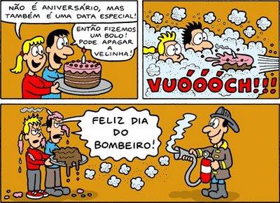Não é aniversário, mas é uma data especial! Então fizemos um bolo! Pode apagar a velinha! Feliz Dia do Bombeiro!
