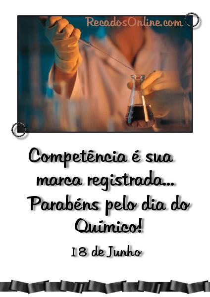 Competência é sua marca registrada... Parabéns pelo Dia do Químico! 18 de Junho