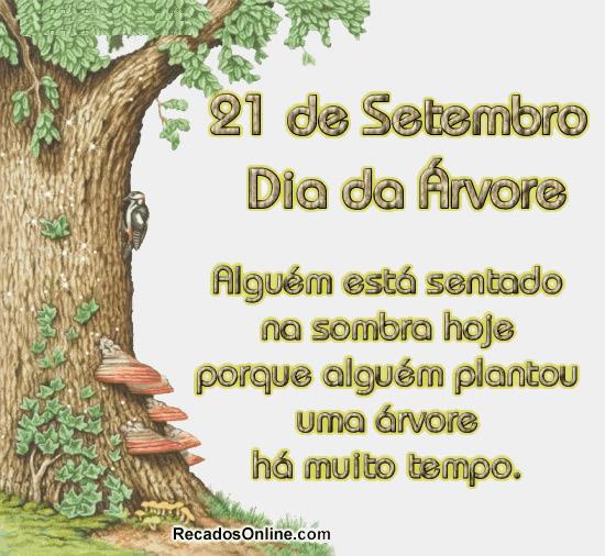 21 de Setembro Dia da Árvore Alguém está sentado na sombra hoje porque alguém plantou uma árvore há muito tempo.