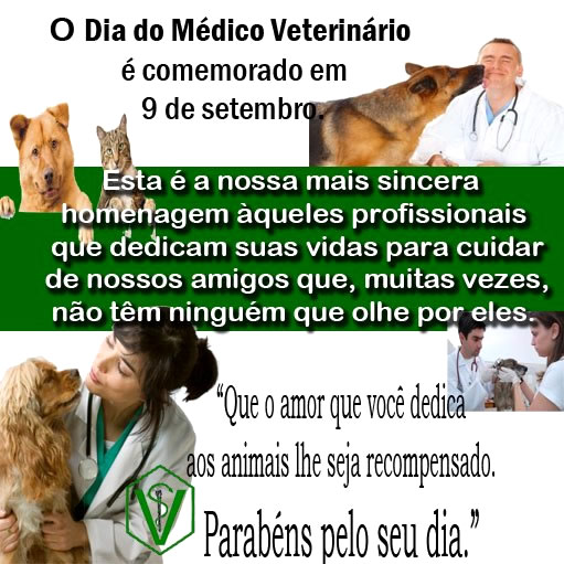 O Dia do Médico Veterinário é comemorado em 9 de setembro. Esta é a nossa mais sincera homenagem àqueles profissionais que dedicam suas vidas...