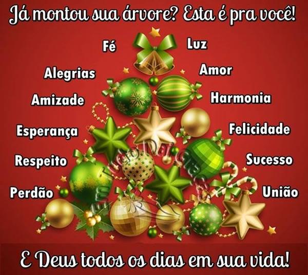 Já montou sua árvore? Esta é pra você! Fé, Alegrias, Amizade, Esperança, Respeito, Perdão, Luz, Amor, Harmonia, Felicidade, Sucesso, União. E...