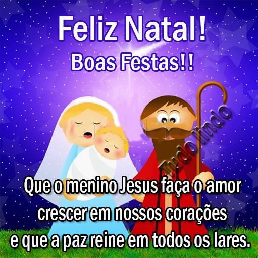 Feliz Natal! Boas Festas! Que o menino Jesus faça o amor crescer em nossos corações e que a paz reine em todos os lares.