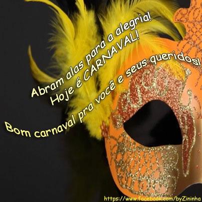 Abram alas para alegria! Hoje é Carnaval! Bom Carnaval pra você e seus queridos!