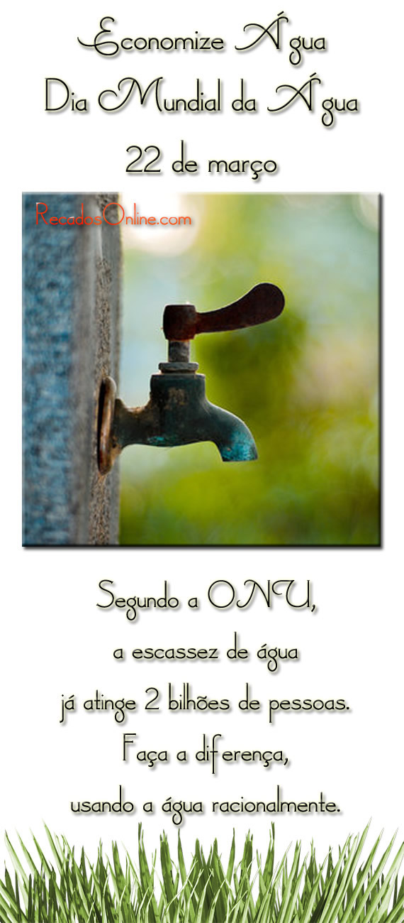 Economize Água Dia Mundial da Água 22 de março Segundo a ONU a escassez de água, já atinge 2 bilhões de pessoas. Faça a diferença, usando a...