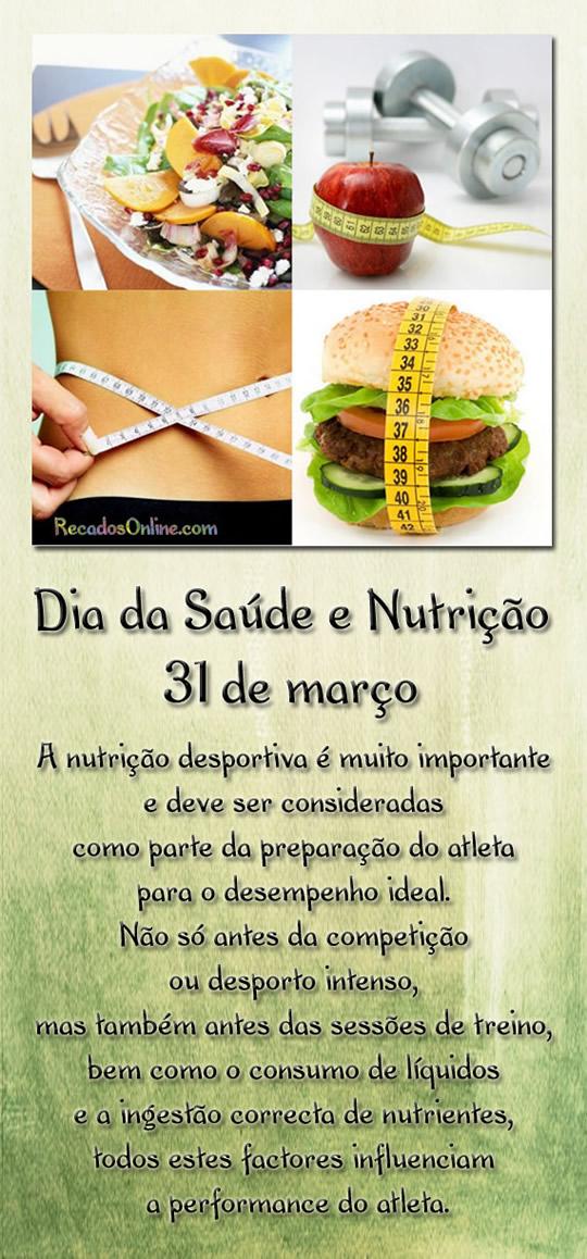 Dia da saúde e nutrição 31 de marco. A nutrição desportiva é muito importante e deve ser consideradas como parte da preparação do atleta para...