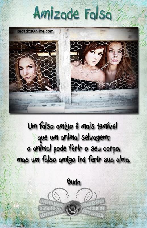 Amizade Falsa Um falso amigo é mais temível que um animal selvagem; O animal pode ferir o seu corpo, mas um falso amigo irá ferir sua alma. Buda
