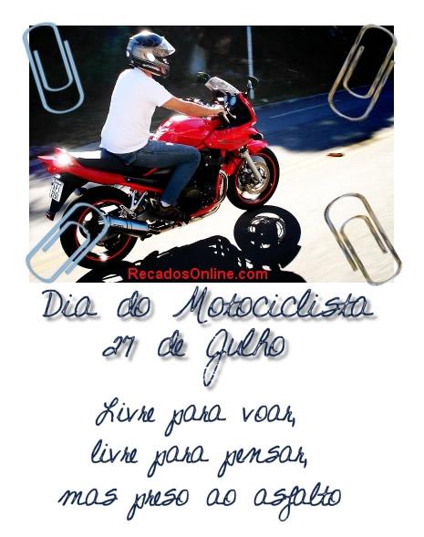 Dia do Motociclista 27 de Julho. Livre pra voar, livre pra pensar, mas preso ao asfalto.