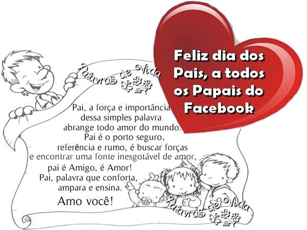 Feliz Dia dos Pais, a todos os Papais do Facebook. Pai, a força e importância dessa simples palavra abrange todo amor do mundo. Pai é o porto...
