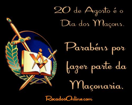 20 de Agosto é o Dia dos Maçons. Parabéns por fazer parte da Maçonaria.