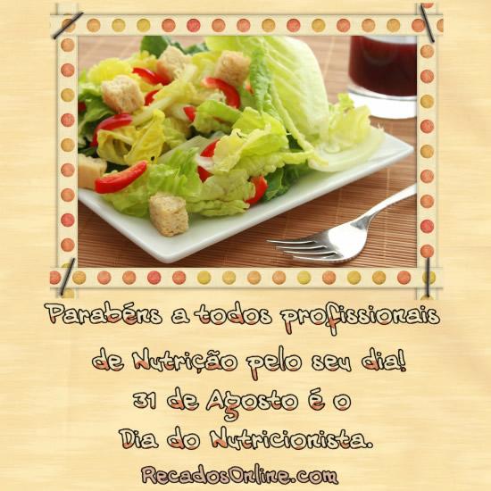 Parabéns a todos os profissionais de nutrição pelo seu dia! 31 de Agosto é o Dia do Nutricionista.