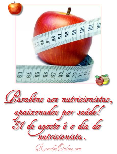 Parabéns aos nutricionistas, apaixonados por saúde! 31 de agosto é o Dia do Nutricionista.