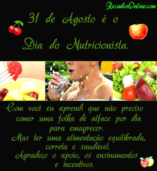 31 de Agosto é o Dia do Nutricionista. Com você eu aprendi que não preciso comer uma folha de alface por dia para...
