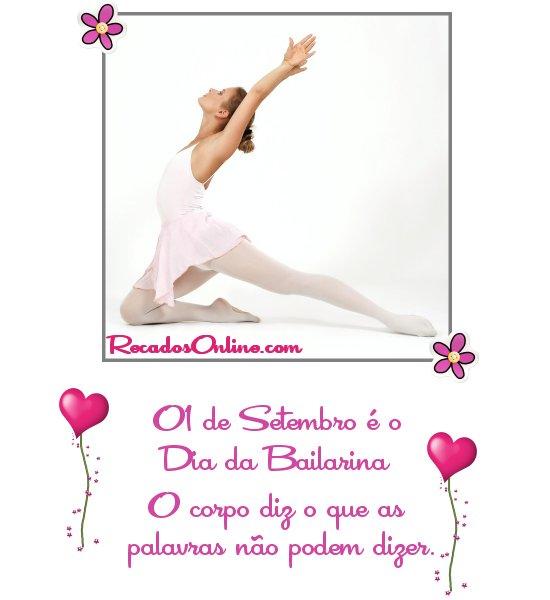 01 de Setembro é o Dia da Bailarina O corpo diz o que as palavras não podem dizer.