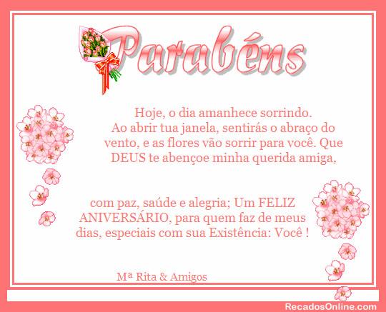 Parabéns Hoje, o dia amanhece sorrindo. Ao abrir tua janela, sentirás o abraço do vento, e as flores vão sorrir para você. Que DEUS te abençoe...