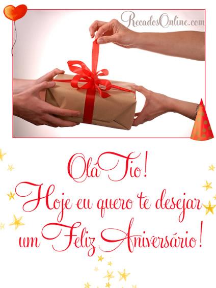 Olá Tio! Hoje eu quero te desejar um Feliz Aniversário!
