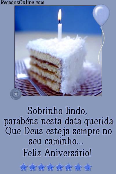 Sobrinho lindo, parabéns nesta data querida. Que Deus esteja sempre no seu caminho. Feliz Aniversário!