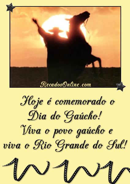 Hoje é comemorado o Dia do Gaúcho! Viva o povo Gaúcho e via o Rio Grande do Sul!