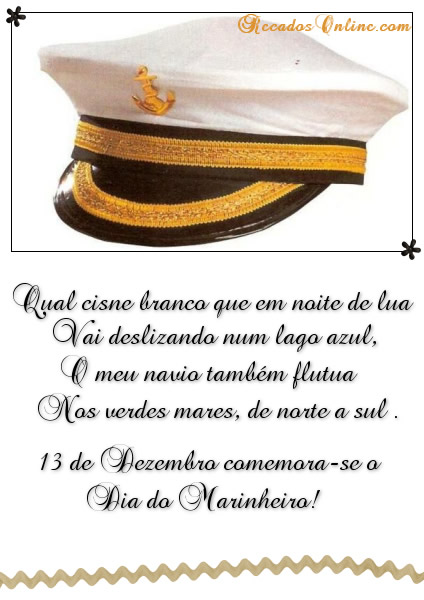 Qual cisne branco que em noite de lua Vai deslizando num lago azul, O meu navio também flutua Nos verdes mares, de norte a sul. 13 de Dezembro...