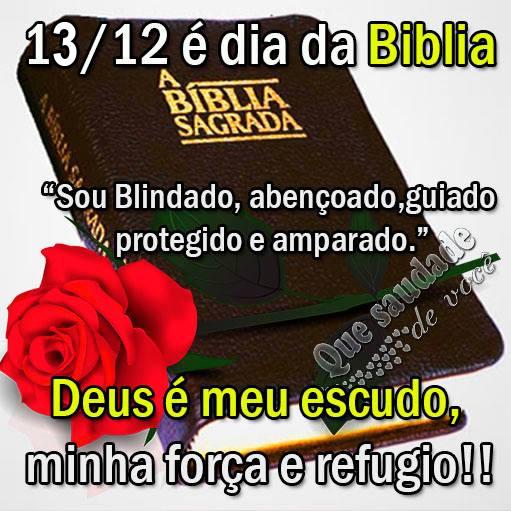 14/12 é Dia da Bíblia Sou blindado, abençoado, guiado, protegido e amparado. Deus é meu escudo, minha força e refúgio!!