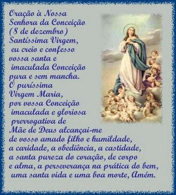 Santíssima Virgem, eu creio e confesso a vossa santa e Imaculada Conceição, pura e sem mancha. Ó puríssima Virgem Maria, por vossa Conceição...