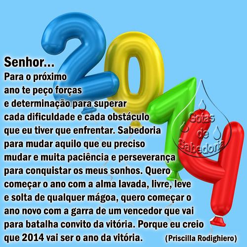 2014 Senhor... Para o próximo ano te peço forças e determinação para superar cada dificuldade e cada obstáculo que eu tiver que enfrentar...