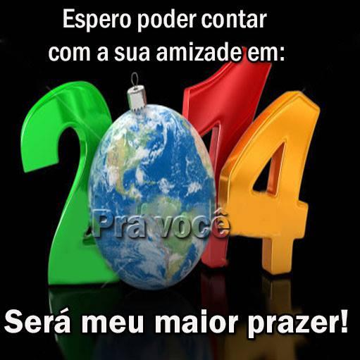 Espero poder contar com a sua amizade em 2014 Será meu maior prazer!