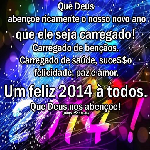 Que Deus abençoe ricamente o nosso novo ano, que ele seja carregado! Carregado de bênçãos. Carregado de saúde, sucesso, felicidade, paz e amor...