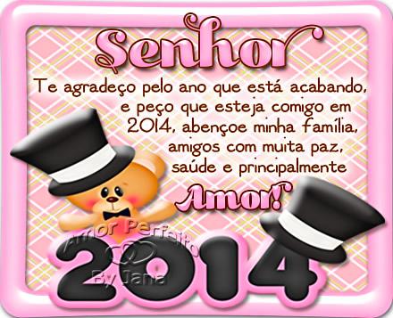 Senhor Te agradeço pelo ano que está acabando, e peço que esteja comigo em 2014, abençoe minha família, amigos, com muita paz e principalmente...