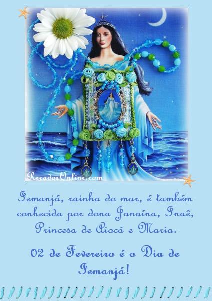 Iemanjá, rainha do mar, é também conhecida por dona Janaína, Inaê, Princesa de Piocá e Maria. 02 de Fevereiro é o Dia de Iemanjá!