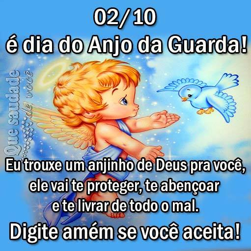 02/10 é Dia do Anjo da Guarda! Eu trouxe um anjinho de Deus pra você, ele vai te proteger, te abençoar e te livrar de todo o mal. Digite amém se...