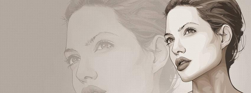 Capa para Facebook com desenho da Angelina Jolie