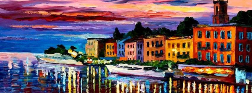 Capa para Facebook de pintura em tela do Lago Como Bellagio