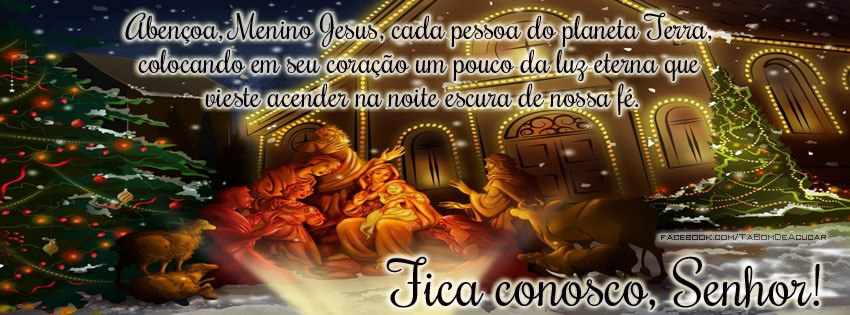 Capa para Facebook de Feliz Natal Religioso Abençoa, Menino Jesus, cada pessoa do planeta Terra, colocando em seu coração um pouco da luz eterna...
