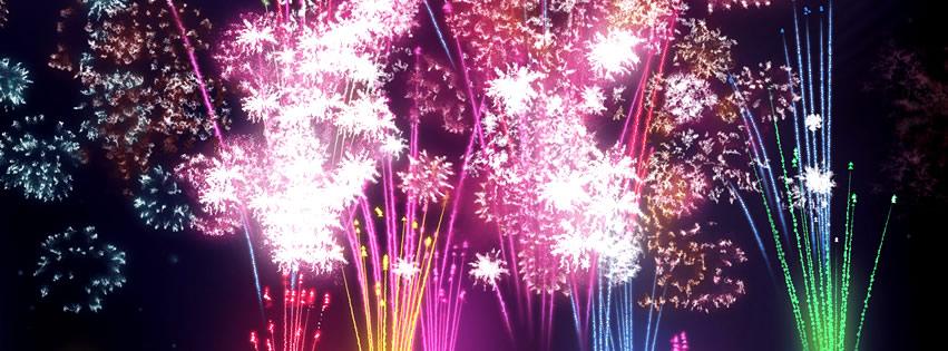 Capa para Facebook de Ano Novo com fogos de artifício no céu