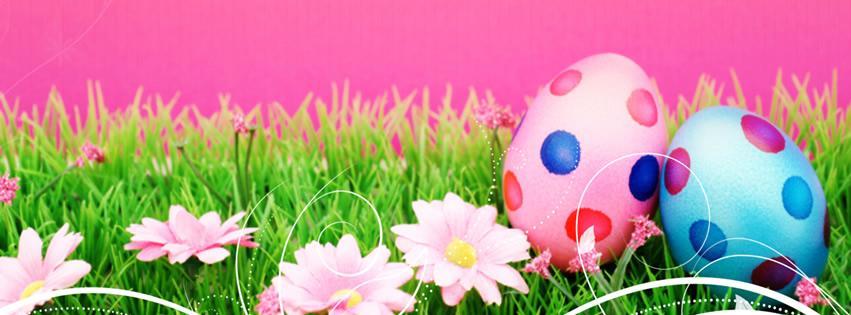 Capa para Facebook de Páscoa com ovos coloridos pintados sobre a grama e flores delicadas
